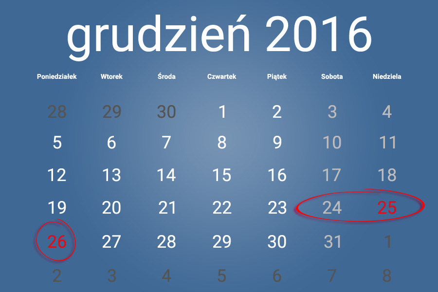 Informacja o dniach wolnych od zajęćw PMDK